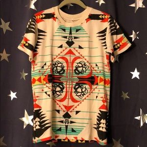 Moss Clothing Co. tribal print T-shirt.